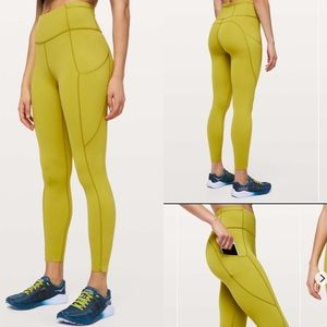 Lululemon fast and free II golden lime high rise